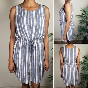 Old Navy Linen-Blend Summer Striped Dress M
